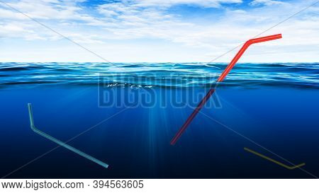 Ecology And Environmental Pollution Concept : Abstract Image Of Many Straws Floating In Underwater.