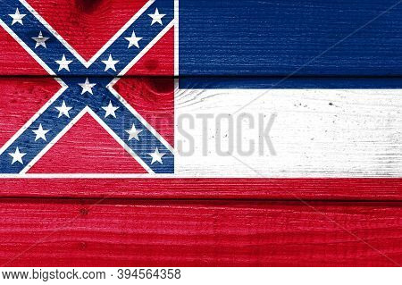 Mississippi Flag Painted On Old Wood Plank Background. Brushed Natural Light Knotted Wooden Board Te