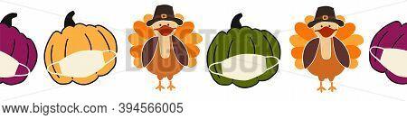 Thanksgiving Turkey And Pumpkins Wearing A Face Mask Seamless Vector Border. Coronavirus Pattern Des