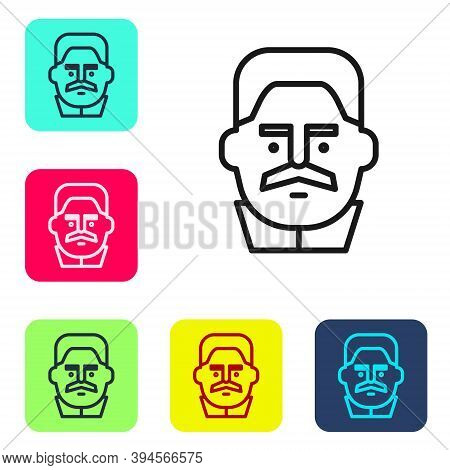 Black Line Portrait Of Joseph Stalin Icon Isolated On White Background. Set Icons In Color Square Bu