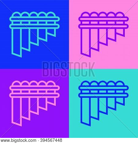 Pop Art Line Pan Flute Icon Isolated On Color Background. Traditional Peruvian Musical Instrument. Z