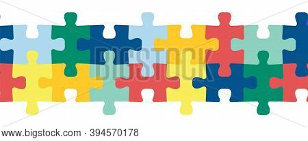 Puzzle Pieces Seamless Vector Border. Repeating Colorful Horizontal Pattern For Children Decor, Kids