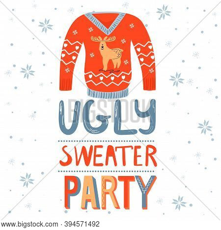 Christmas And Happy New Year Invitation Template On Ugly Sweater Party. Card With Ugly Sweater With