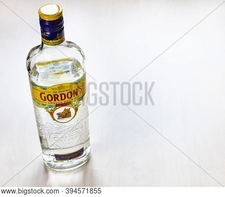 Moscow, Russia - November 4, 2020: Above View Of Bottle Of Gordon's London Dry Gin On Light Brown Bo