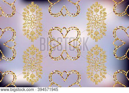 Vintage Velvet Wallpaper In The Damask Baroque Style. Vector Gold Glitter Surface Design