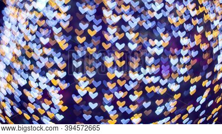 Abstract Blur Blue White Heart Shape Love Valentine Day On Tree In Garden