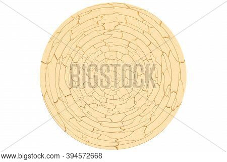 Abstract Cycle Milk Wood Texture Surface Is Brown Color Cracked And Swelling On Isolated