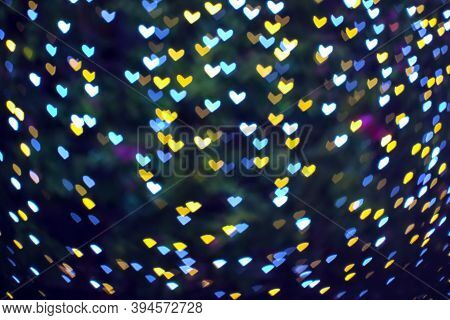Blur Heart Shape Love Valentine Day On Tree In Garden Night Light Cold Tone