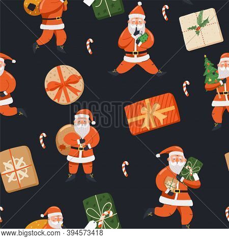 Merry Christmas And Happy New Year Background. Seamless Pattern With Santa Claus, Fir-tree, Gift And