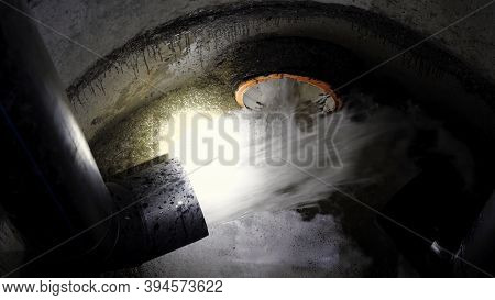 Industrial Pipe Discharging Liquid Waste. Media. Concept Of Ecology And Waste Recycling, Chemical Wa