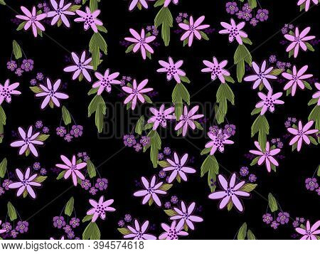 Seamless Floral Pattern. Flowers Texture. Simplicity Flower Surface Soft Design.