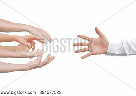 Hand Reaching For Helping Hand, Isolated On White Background.