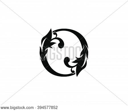 Luxury O Letter Logo. Black Floral O With Classy Leaves Shape Design Perfect For Boutique, Jewelry,