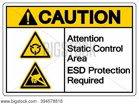 Caution Attention Static Control Area Esd Protection Required Symbol Sign, Vector Illustration, Isol
