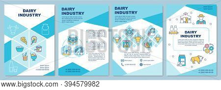 Dairy Industry Brochure Template. Farming. Milk Production. Flyer, Booklet, Leaflet Print, Cover Des