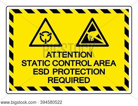 Attention Static Control Area Esd Protection Required Symbol Sign, Vector Illustration, Isolated On