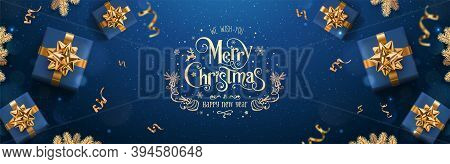Gold Merry Christmas And New Year Text On Dark Blue Background With Christmas Gift Boxes, Golden Fir