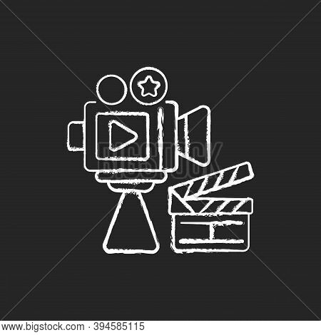 Cinema Industry Chalk White Icon On Black Background. Motion Picture Industry. Filmmaking. Film Prod