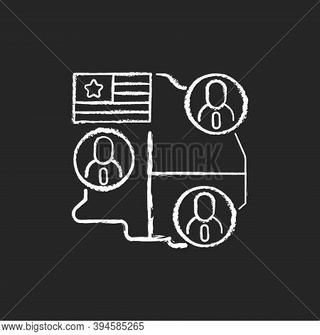 Electoral College Chalk White Icon On Black Background. Presidential Electors. Official Votes For Pr