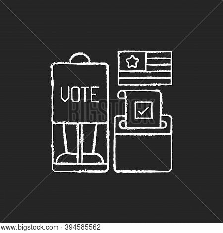 Voting Booth Chalk White Icon On Black Background. Cabin In Polling Station. Casting Ballots In Elec