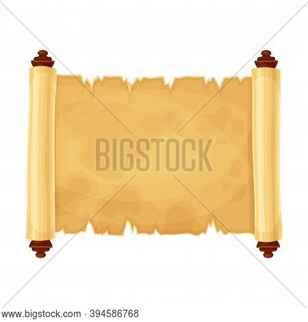 Ancient Rough Papyrus Scroll With Yellowish Stained Paper Vector Illustration