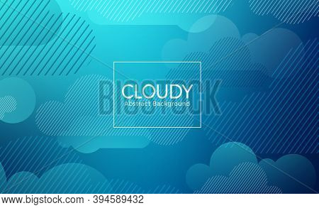 Cloud Abstract Vector Banner Design Template. Cloudy Abstract Background Text With Geometric Blue Cl