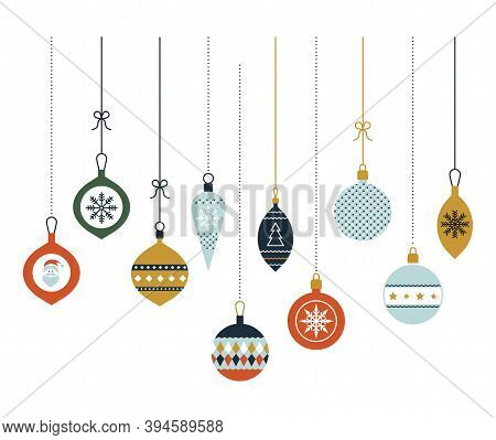 Hanging Christmas Glass Balls. Christmas Decoration. Vector Icons In A Flat Style. Set Of Graphic El