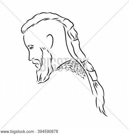 Viking. Hand Drawn Of A Viking In A Helmet. Sketch Of Viking Head Vector Artwork. Viking Vector Sket