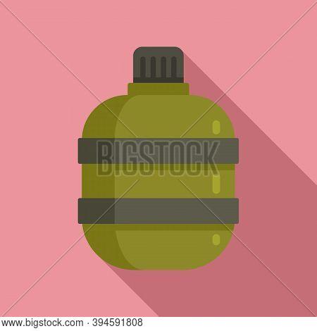 Safari Hunting Water Flask Icon. Flat Illustration Of Safari Hunting Water Flask Vector Icon For Web