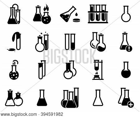 Set Of Simple Icons On A Theme Flask, Laboratory, Experiment, Vector, Design, Collection, Flat, Sign