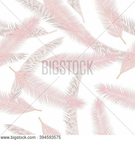 Summer Feather Plumage Vector Seamless Ornament. Decorative Graphic Design. Airy Natural Feather Plu