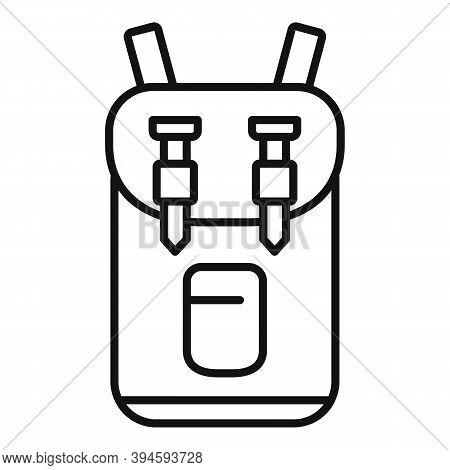 Safari Hunting Backpack Icon. Outline Safari Hunting Backpack Vector Icon For Web Design Isolated On