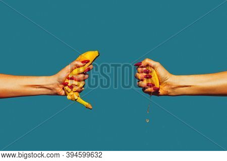 Hands With Banana And Lemon. Modern Art Collage In Pop-art Style. Hands Isolated On Trendy Colored B