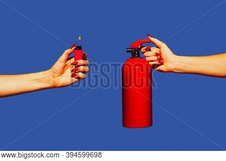 Hands With Fire Extinguisher And White Lighter. Modern Art Collage In Pop-art Style Isolated On Tren