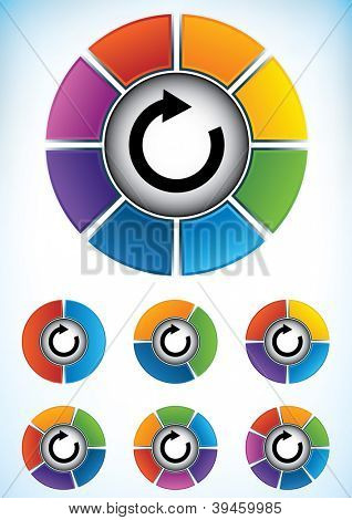 Set of seven wheel diagrams with different colors and numbers of divisions or components with a central directional flow arrow to be used as a business presentation template poster
