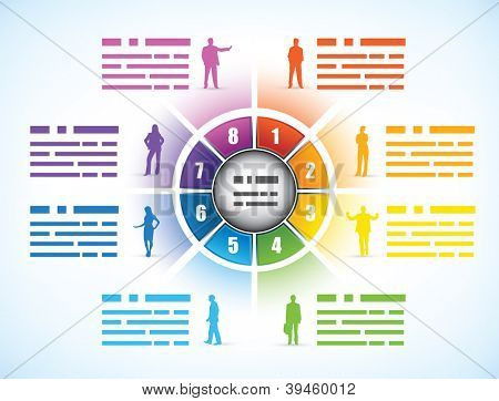 Cog or wheel diagram for a business presentation template divided into eight different colored numbered components showing employee statistics with people silhouettes and text space