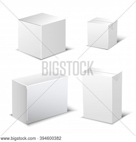 Set Of Four Realistic White Package Box. Design Elements For Online Delivery Layout. Vector