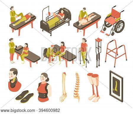 Orthopedics Clinic Isometric Recolor Icon Set Treatment Of Problems With Spine And Limbs Vector Illu