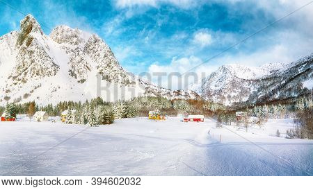 Gorgeous Winter Scenery With Traditional Norwegian Wooden Houses And Pine Trees Near Valberg Village