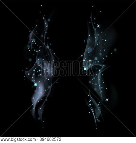 Set Of Light Blue Magic Smokes With Stars On Dark Background. Magical Smoke For Food Advertising And