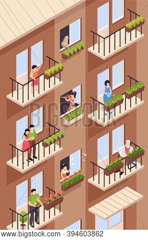 Isometric Neighbors Composition With View Of High Rise Apartment House With Balconies And Characters