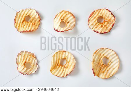 Six apple chips (dried thin apple slices)