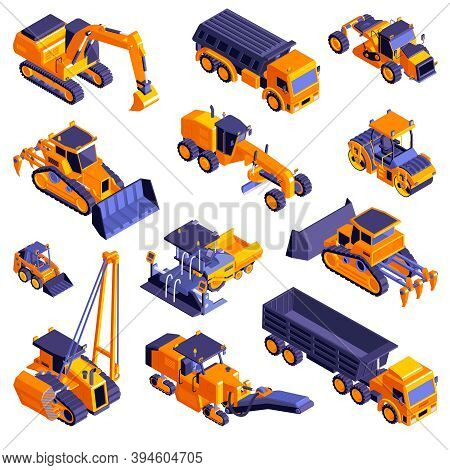 Isometric Road Construction Roller Set Of Isolated Machinery Icons With Images Of Orange Trucks And