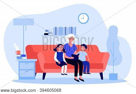 Grandma Reading Fairytale To Kids. Senior Lady With Book And Children At Home Flat Vector Illustrati