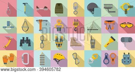 Industrial Climber Icons Set. Flat Set Of Industrial Climber Vector Icons For Web Design