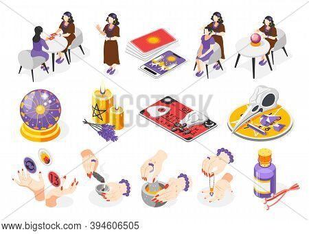 Magical Services Isometric Set Of Recolor Icons With Isolated Fortune Teller Characters Oracle Cards
