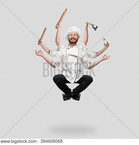 Cooker, Chef, Baker In Uniform Like Shiva Isolated On Gray Studio Background, Gourmet. Young Man, Re