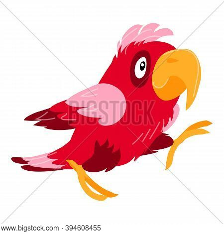 Excited Parrot Icon. Cartoon Of Excited Parrot Vector Icon For Web Design Isolated On White Backgrou