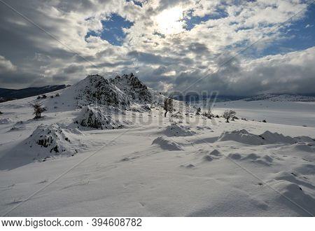 beautiful winter landscape in Dobrogea, Romania