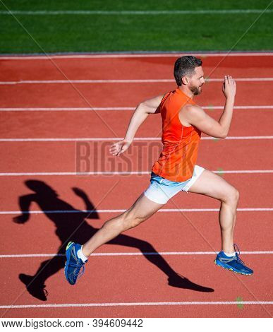 I Am The Best. Athletic Man Compete In Sprint. Sport Healthy Lifestyle. Fitness Training Outdoor. Ru